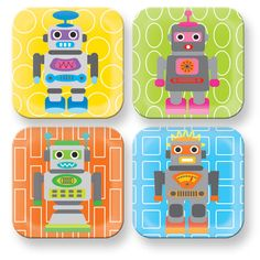 French Bull - Robot Square Plate Set - 4 Assorted Robot Square Plate Set - 4 Assorted French Bull 's Robot assortment is engineered for square meals. These robot plates coordinate with our juice cup and bowl set. Set includes four different robots on a colorful, patterned background.