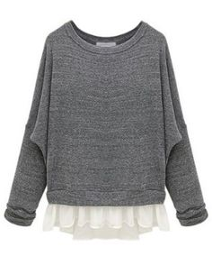 Grey Batwing Long Sleeve Contrast Chiffon Knit Sweater US$28.69