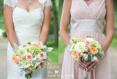 Bride & bridesmaid. Bouquets including David Austin roses, baby green hydrangea, dahlias & dusty miller. Image by Leah Haydock Photography.
