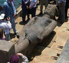 One of the 16ft statues found in the underwater ruins of Heraclion off the coast of Egypt, depicting an unknown Pharaoh