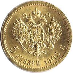 Moneda de oro 5 Rublos Rusia 1902. SC.