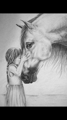 Reminds me of myself with my horse when I was young. Love it Erinnert mich mit meinem Pferd an mich, als ich jung war. Horse Pencil Drawing, Horse Drawings, Pencil Art Drawings, Art Drawings Sketches, Animal Drawings, Drawing Art, Drawing Ideas, Horse Sketch, Horse Artwork