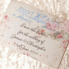 10 Save the Date Cards Shabby Chic Vintage Postcard Ref 209 £4.00