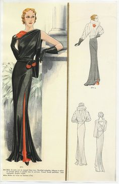 1930's Parisian Fashion Plate | Evening wear. Wearable today. Notice diagonal fabric piecing on jacket.