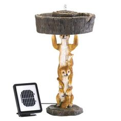 Playful Meerkat Solar Fountain - A family of meerkats provides a playful perch for a sparkling spring. This charming decoration combines a fountain and a fanciful statue in one; clever solar power lets you place it anywhere you please.