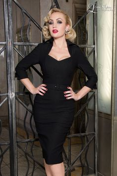 Vintage Goth Pinup Capsule Collection Lorelei Dress in Black Bengaline