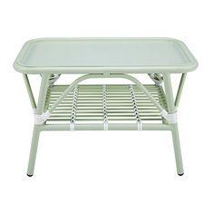 Gariguette - Table basse de jardin en aluminium vert clair et blanc