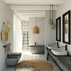 "NATURAL Collection ~ Another fabulous bathroom with ""natural"" elements. We offer a natural rope pendant intricately woven with core rattan and natural rope. Dimensions: Diameter 15.5 H18.25 We ship World Wide."