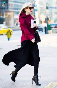 A maroon sweatshirt