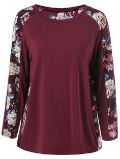 Raglan Sleeve Floral Pattern T-Shirt
