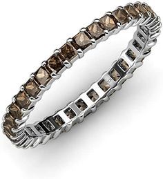 Your Personal Ejeweler..Sophisticated and mordenistic, this Smoky Quartz eternity band will give you an updated look with a classic design.This illuminating band features a perfect line of sparkling princess-cut Smoky Quartz in durable prong settings. This Princess Prong Set Eternity band is going to be her jewel of delight. #Trijewels #Ejeweler #Eternity #Diamond #Gemstone #EternityRing #WeddingBand #Ring #WomenRing #Gift #Wedding #Engagement #Womenjewelry #Wedding #GoldRing #Womens…