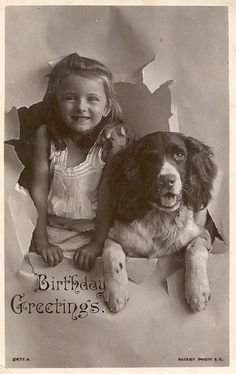 Vintage photo of a girl with her Springer . . .