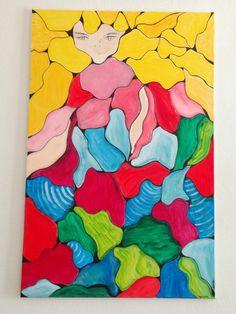 """""""Jeunesse"""" Acrylique de Marie Da Cruz Disponible à la vente 115 x 75"""