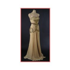 Old Hollywood Glamour Gold Vintage Inspired Evening Gown-Vintage Style... ❤ liked on Polyvore featuring dresses, gowns, prom gowns, vintage style evening dresses, brown dress, fancy prom dresses and gold dress