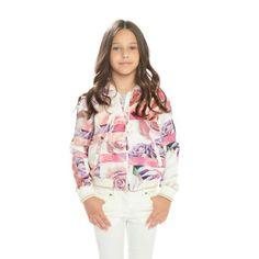 ROBERTO CAVALLI Baroque Girls Pink Floral Print Hooded Zip-Up Top