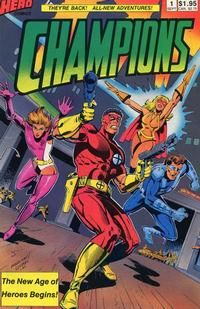 They are the Champions, my friends: Marksman (an industrialist sharpshooter), Rose (a psychic), Flare (light-headed light projector), Icestar (he's not a fireman). Written by Dennis Mallonee and published by his company.