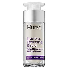 Invisiblur™ Perfecting Shield Broad Spectrum SPF 30 - Best primer/treatment(fine lines,brightening,smoothing serum), and sun protection all in one- hands down! Great for those who want to minimize pore size and oil production as well. Great for dudes too!