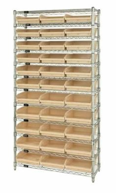 """Quantum Storage Systems WR12-109BK 12-Tier Complete Wire Shelving System with 33 QSB109 Black Bins, Chrome Finish, 12"""" Width x 36"""" Length x 74"""" Height by Quantum. $484.39. Genuine Quantum modular wire systems offer a unique combination of shelf and post sizes in a variety of finishes to compliment any application. The split sleeve and grooved numbered posts allow for easy and quick assembly. The all welded shelf construction is supported with architectural wire trusses to prov..."""