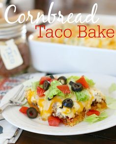 Cornbread Taco Bake (and a GIVEAWAY!} Recipe for gluten free cornbread taco bake Gf Recipes, Mexican Food Recipes, Cooking Recipes, Mexican Dishes, Free Recipes, Steak Recipes, Healthy Cooking, Easy Recipes, Homemade Tacos