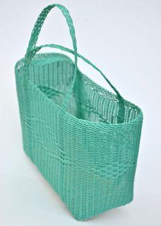 Woven Guatemalan Mint Green Plastic Market Basket Strong Resistant Bag Fantastic…