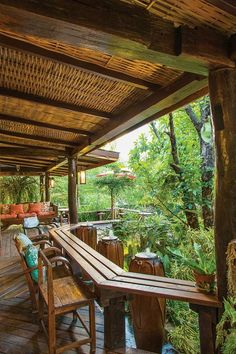 Over the pond Hut House, Bali House, Bamboo Architecture, Interior Architecture, Outdoor Cafe, Outdoor Living, Bamboo House Design, Bamboo Building, Jungle House
