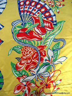 1940s Hawaiian Fabric Rayon Vertical Print Classic Silky Hawaiian Yard Goods Salvaged Sarong Skirt 68 by 28 plus