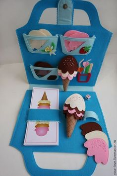Busy book / quiet book page - ice cream shop Diy Quiet Books, Baby Quiet Book, Felt Quiet Books, Kids Crafts, Felt Crafts, Diy And Crafts, Sewing For Kids, Diy For Kids, Quiet Book Patterns
