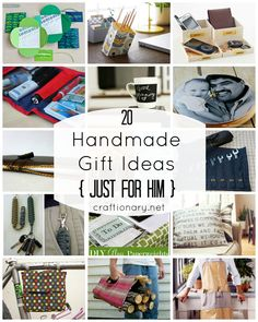 Just for HIM, men gift ideas. Handmade gifts to make for your guy. Laptop sleeve, DIY wallet, office organizers, tool organizers, custom photo gift ideas