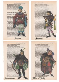 Repurposed Art from Chaucer's Canterbury Tales - 16 Character to Choose From by SimpleeSaid on Etsy