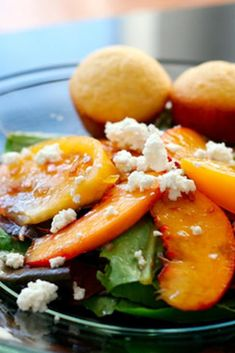 Garden Greens with Yellow Tomatoes and Peaches recipe with 280 calories.