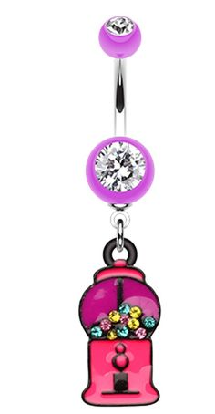 Gumball Candy Machine Belly Button Ring #BellyRing #Food #Gumball #Candy #CandyBellyRing #BodyMod #BodyModification #Piercings