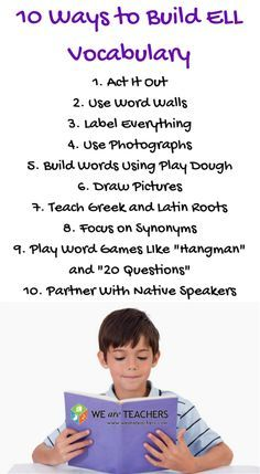 10 Ways to Build ELL Vocabulary Skills A great quick read to help teachers understand the best ways to to build vocabulary skills in ELL students. Great for use in content areas and ELA! Vocabulary Instruction, Academic Vocabulary, Teaching Vocabulary, Vocabulary Activities, Preschool Worksheets, Listening Activities, Spanish Activities, Ell Strategies, Teaching Strategies