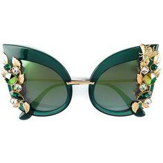 Dolce & Gabbana Eyewear Embellished Sunglasses (€1.315) ❤ liked on Polyvore featuring accessories, eyewear, sunglasses, glasses, logo sunglasses, cateye sunglasses, embellished sunglasses, green sunglasses and bee glasses