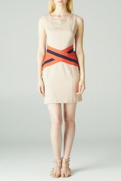 This sleeveless fitted cocktail dress has a criss cross banded accent at the waist #salediem #c.luce #fallfashion Shipping is FREE!!
