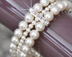 Multi Strand nupcial grueso brazalete de por somethingjeweled