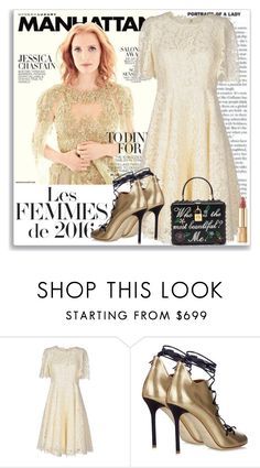 """Star Power: Jessica Chastain"" by coraline-marie ❤ liked on Polyvore featuring Dolce&Gabbana and Malone Souliers"