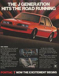 1981 Pontiac 1982 J2000 Red J Generation Original Print Magazine Ad