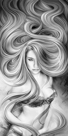 Coloring for adults - kleuren voor volwassenen dibujos a lápiz, bocetos, pá Sexy Drawings, Art Drawings, Transférer Des Photos, Arte Lowrider, Fantasy Art Women, Chicano Art, Mermaid Art, Coloring Book Pages, White Art