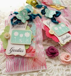 stamping on gift bags, colors, flowers