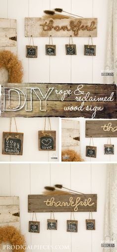 """Build a DIY """"Thankful"""" sign perfect for the holiday season out of new or…"""