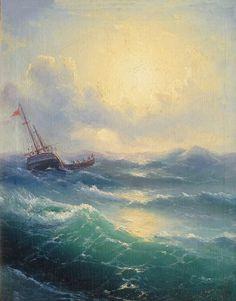 Ivan Aivazovsky - Sea, 1898.  Ivan Konstantinovich Aivazovsky (Russian: Ива́н Константи́нович Айвазо́вский, Armenian: Հովհաննես Այվազովսկի Hovhannes Ayvazovski;[b] 29 July 1817 – 2 May 1900) was a Russian Empire Romantic painter. He is considered one of the greatest marine artists in history. Baptized as Hovhannes Aivazian, Aivazovsky was born into an Armenian family in the Black Sea port of Feodosia and was mostly based in his native Crimea.