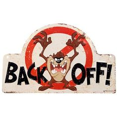 """Tazmanian Devil Back Off Embossed Tin Sign features the ever-lovable always hungry Tazwith arms outstretched, set against a distressed ivory background. With a large red circle with line through it and black text, getting the message across is easy--and fun! Hang this sign on doors, gates, and more for a quirky and creative warning.        Dimensions:      Length: 7 5/8""""    Width: 12 1/4""""          Hanging Hardware: 2 Nail Hole Cut-Outs       ..."""