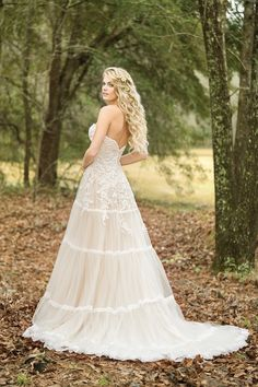 Style 6451 by Lillian West - Strapless Lace Gown with Lace-Trimmed Tiered Skirt Long Wedding Dresses, Boho Wedding Dress, Wedding Bride, Bridal Dresses, One Shoulder Wedding Dress, Flower Girl Dresses, Wedding Ideas, Wedding Stuff, Dream Wedding
