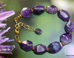 Lapis Amethyst Multistrand Bracelet Lapis Beads and by MangoTease