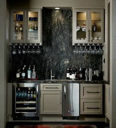 Cool small bar ideas for your home. Personalized at home bar design you can copy now. Wet Bar Basement, Basement Bar Designs, Wet Bar Designs, Basement Ideas, Basement Finishing, Small Basement Bars, Modern Home Bar Designs, Basement Office, Basement Bathroom