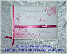Hochzeitsalben - Gästebuch Hochzeit,Farbwahl,Geschenk,Pink GB 499 - ein Designerstück von Gaestebuch-Shop bei DaWanda