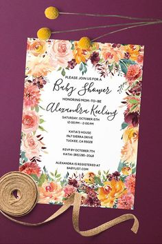 Autumn baby shower invitations | Fall Baby Shower | Fall colors