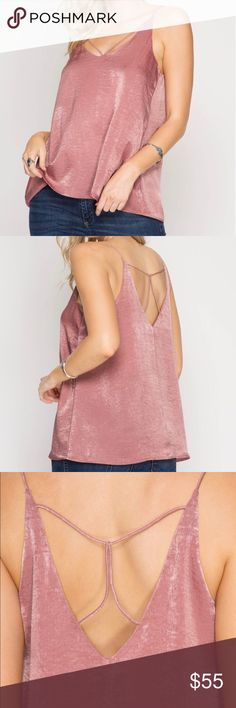 Silk Satin Top Spaghetti straps, free fit, lightweight. Strap details in the back are not too low, won't show the bra. Looks like silk satin.  Color: dusty rose.  60% cotton, 40% polyester. Tops