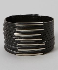 Look at this Bubbly Bows Black & Silver Tube Bracelet on #zulily today!