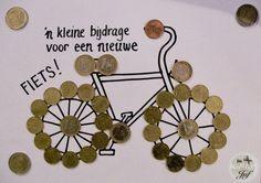 Geldcadeautje Geld voor een nieuwe fiets Diy And Crafts, Happy Birthday, Hair Accessories, Place Card Holders, Scrapbook, Elsa, Cards, Wrapping Gifts, Gifts For Birthday